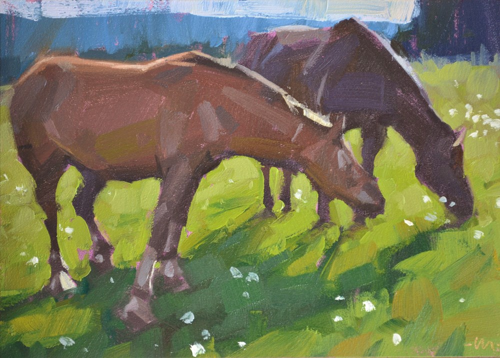 """Grazing"" original fine art by Carol Marine"