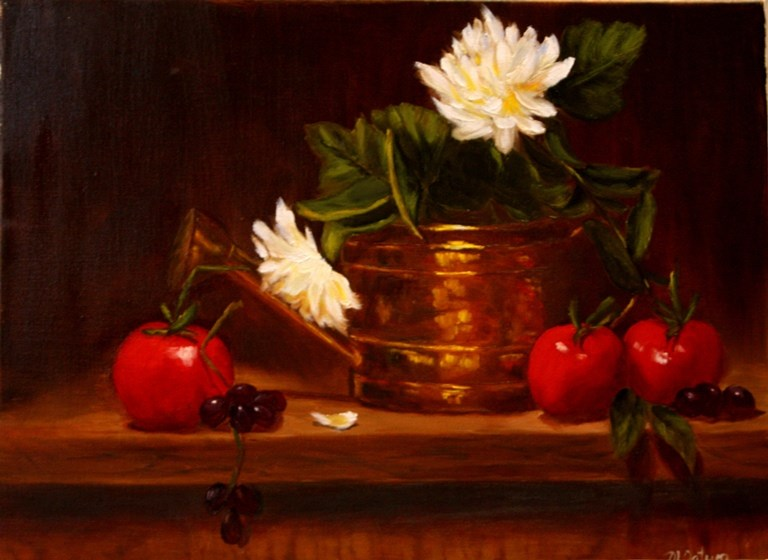 """""""Tomatoes and Copper"""" original fine art by Mary Datum"""