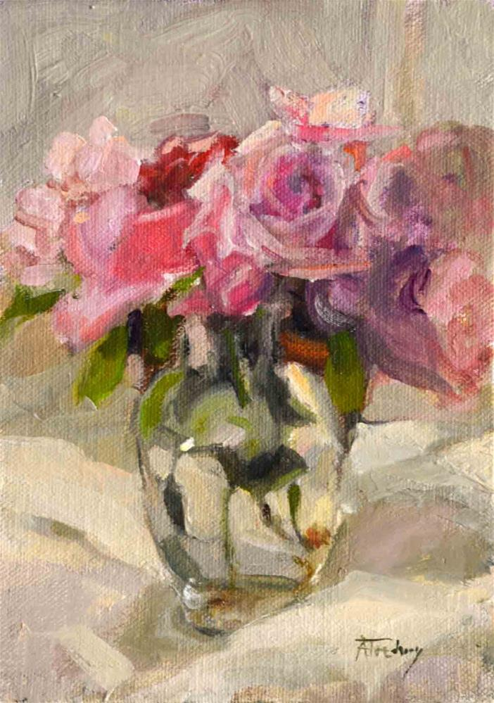 """Pink Roses in Clear Vase"" original fine art by alicia tredway"