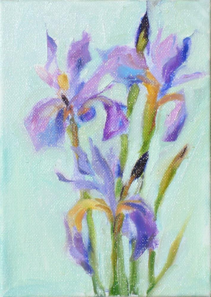 """Iris,still life,oil on canvas,7x5,priceNFS"" original fine art by Joy Olney"