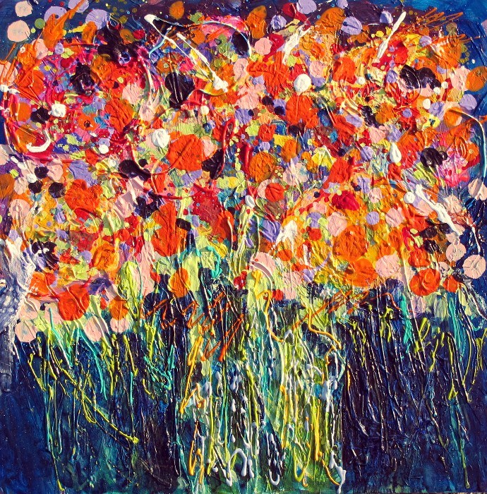Polka Dot Roses 2, 12062 original fine art by Nancy Standlee