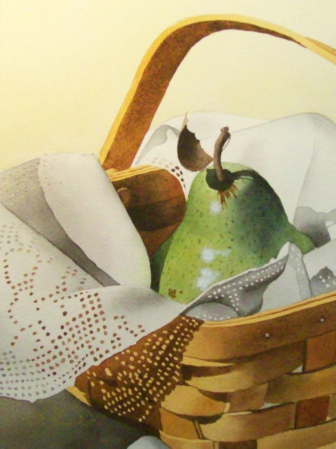 """Pear Princess"" original fine art by Jacqueline Gnott, whs"
