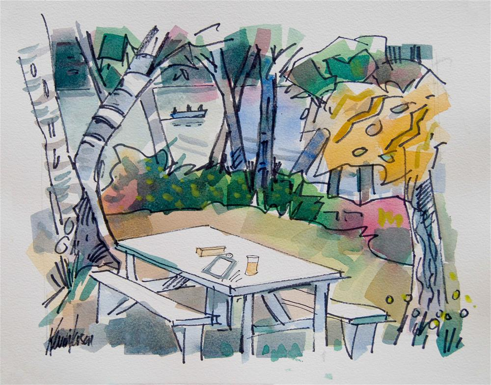 """White Picnic Table"" original fine art by Kevin Larson"