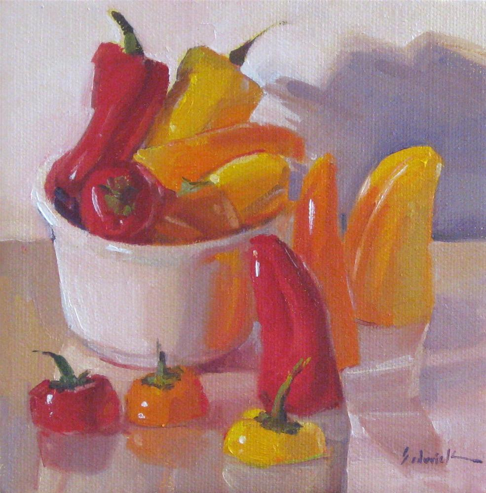 """Hats Optional food kitchen vegetable pepper art oil painting still life"" original fine art by Sarah Sedwick"