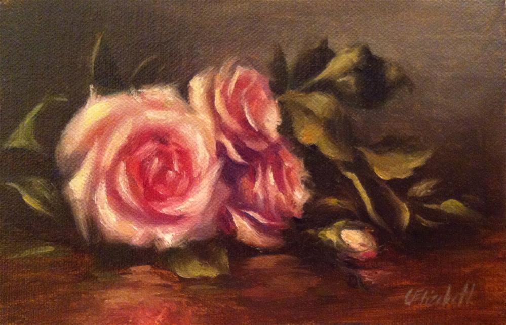 """""""Pink Roses Still Life,  Oil on 4x6 Linen Panel"""" original fine art by Carolina Elizabeth"""