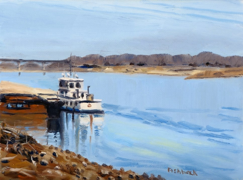 """Mississippi River Tug"" original fine art by Daniel Fishback"