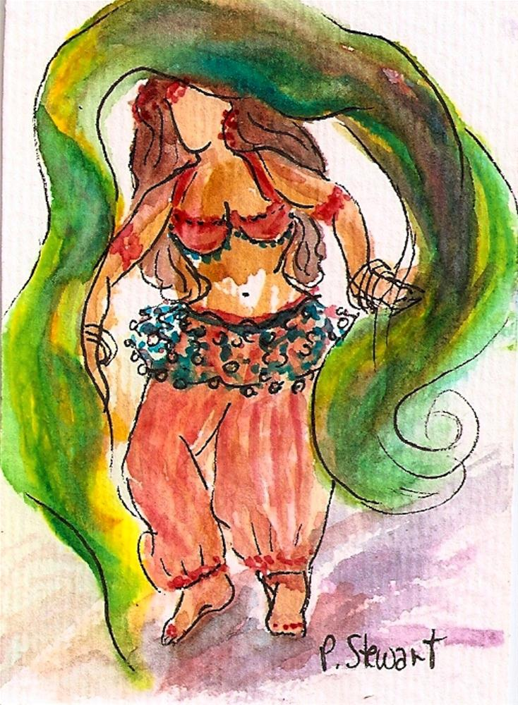 """ACEO Bellydancer with Veil"" original fine art by Penny Lee StewArt"
