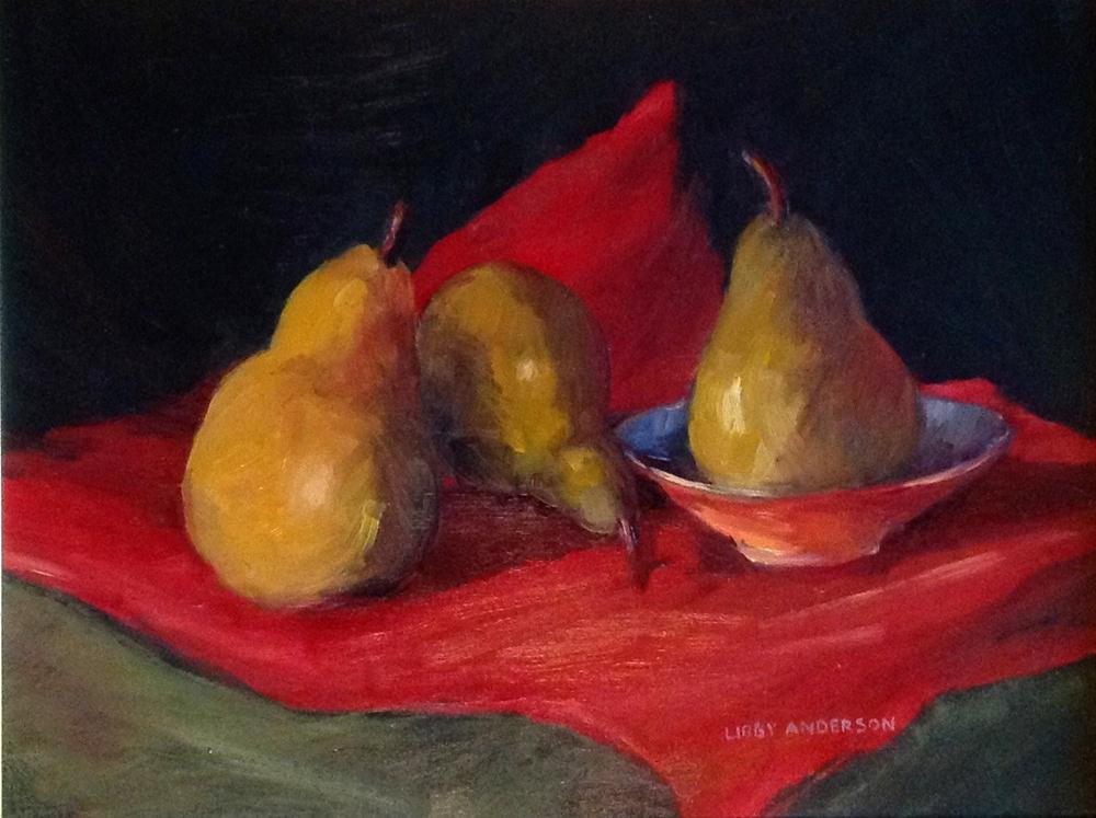 """Three Pears"" original fine art by Libby Anderson"