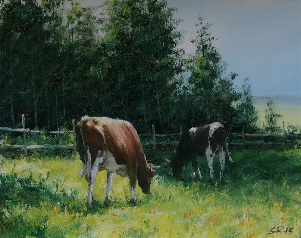 """Morning meal"" original fine art by Stig Rosenlund"