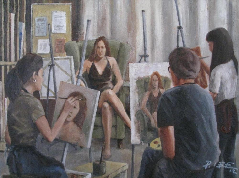"""A Painting Session"" original fine art by Peter Lee"