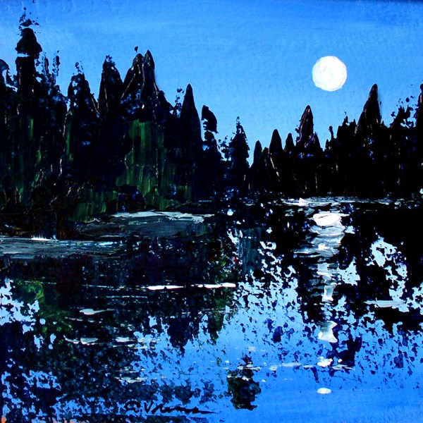 """Moonlit Pond"" original fine art by Anna Vreman"