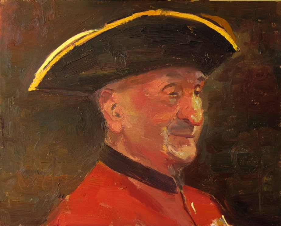 """The 103 year old Chelsea Pensioner "" original fine art by Adebanji Alade"
