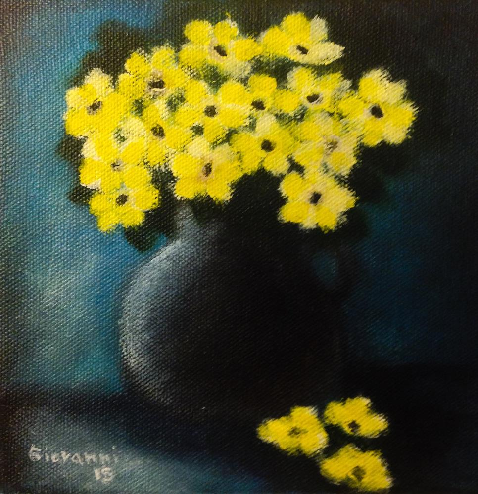 """Yellow flowers in gray vase"" original fine art by Giovanni Antunez"