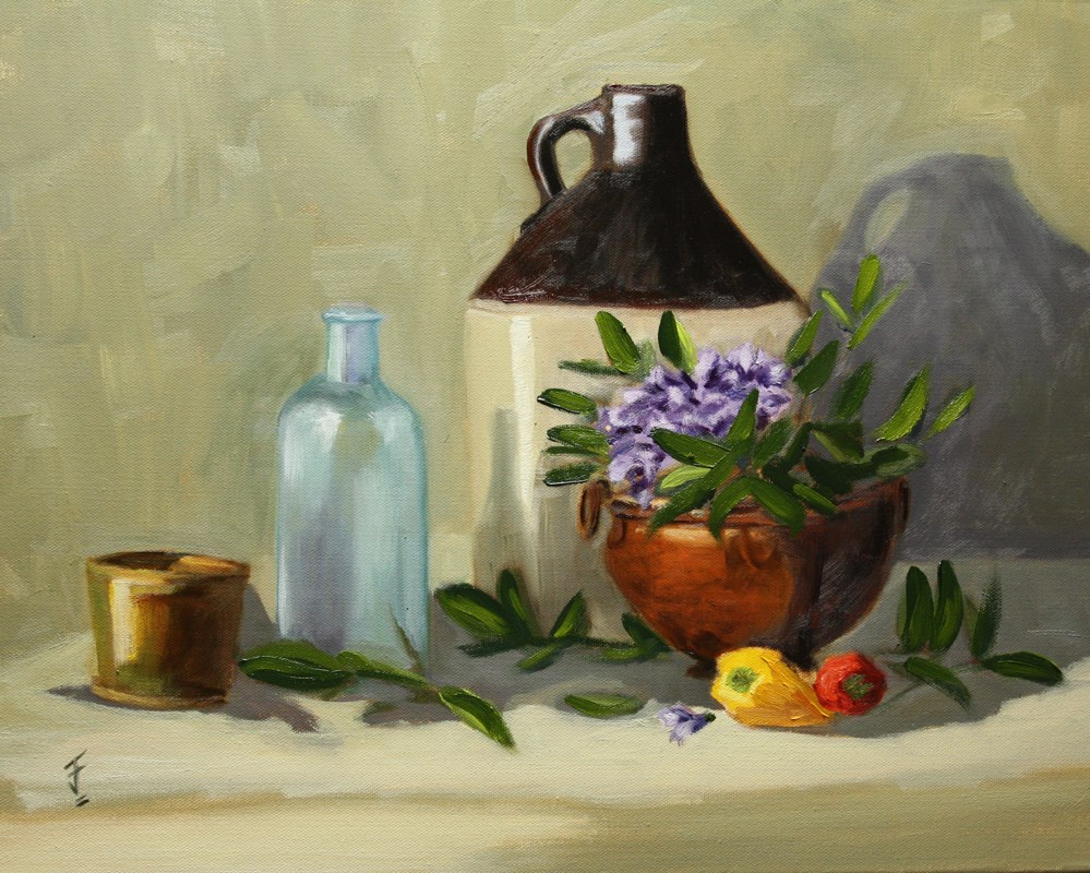"""Mountain Laurel and Jug"" original fine art by Jane Frederick"
