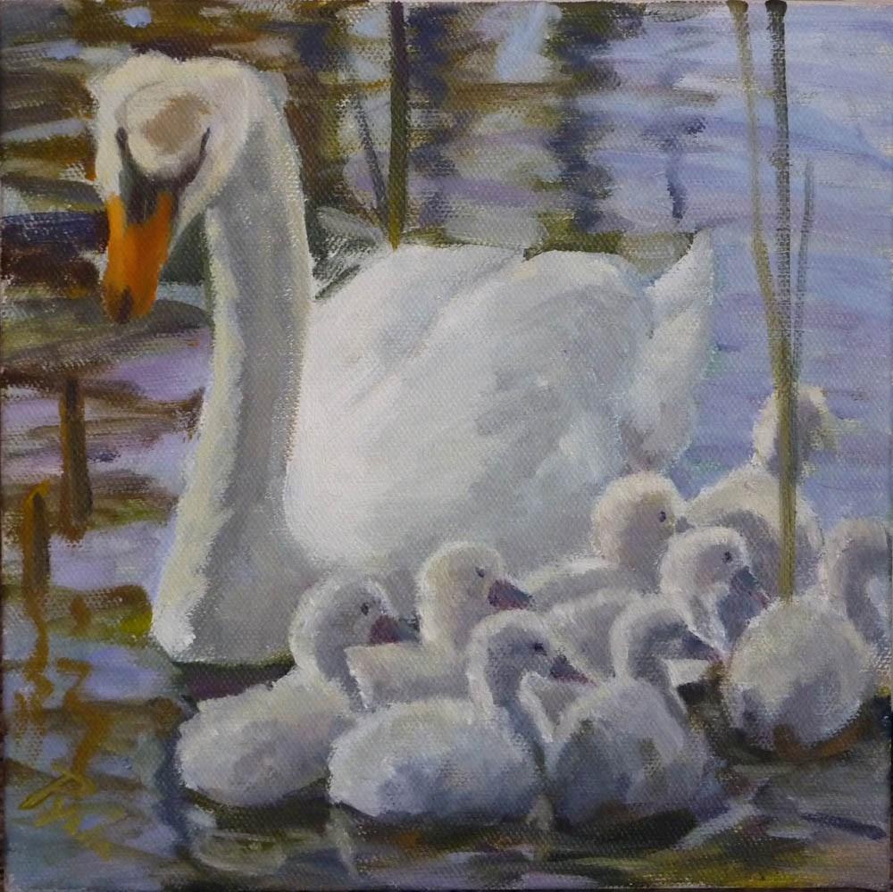 """Swan Family"" original fine art by Mary Pyche"
