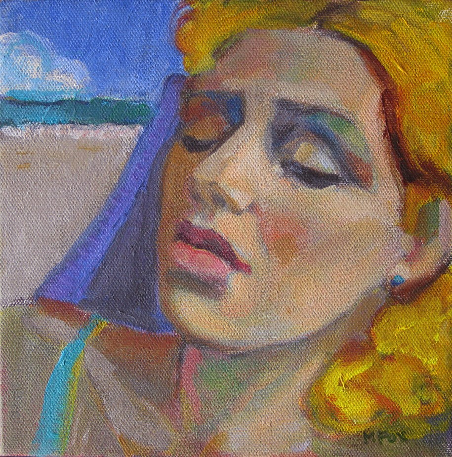 """Beach Nap, figurative woman at beach, sleeping, figuration, ocean"" original fine art by Marie Fox"