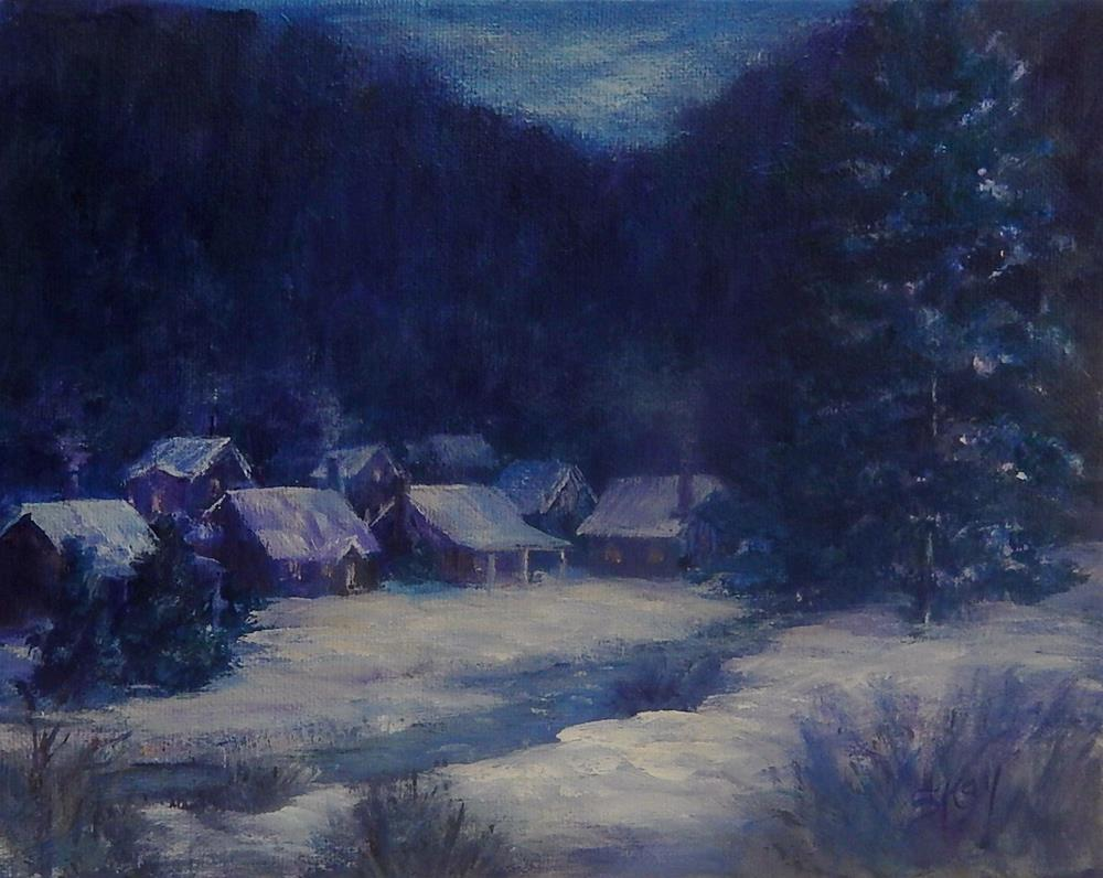 """Snowy Village"" original fine art by Sharon Kay Baker"