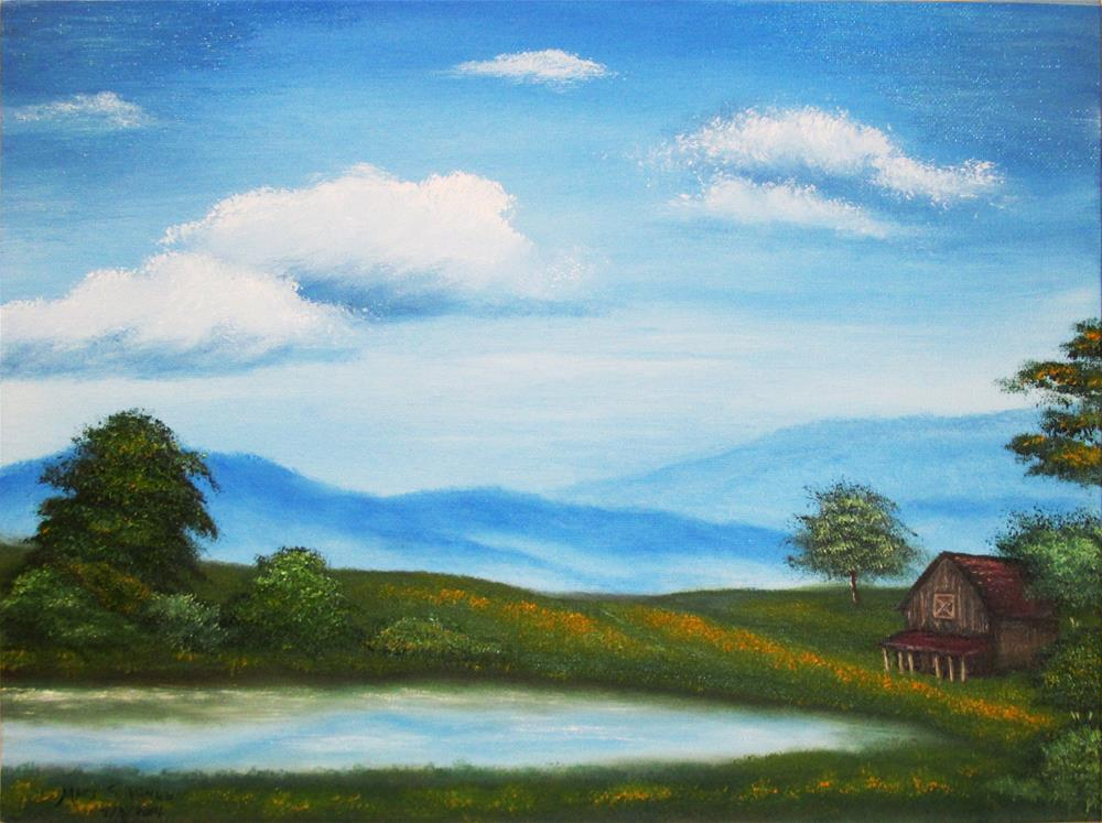 """Cabin by the Lake--01"" original fine art by Mary Sylvia Hines"