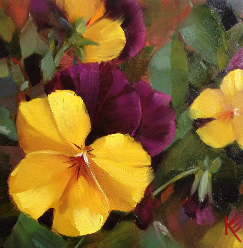 """Yellow & Purple Pansies"" original fine art by Krista Eaton"
