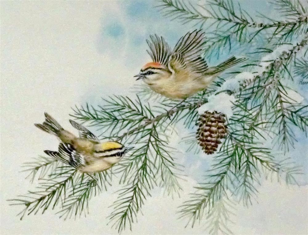 """""""Pine Siskins"""" original fine art by Jean Pierre DeBernay"""
