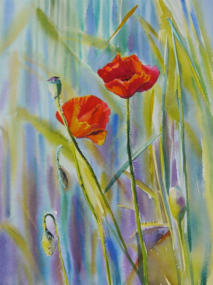 """poppies 1"" original fine art by Beata Musial-Tomaszewska"
