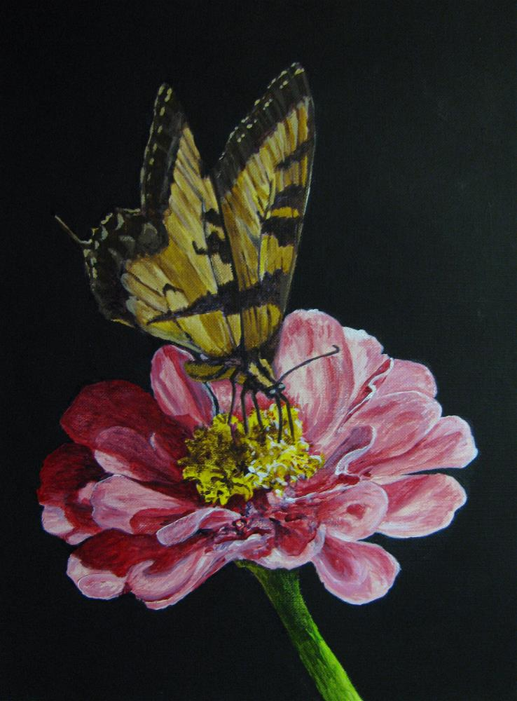 """Flower & Butterfly"" original fine art by Nan Johnson"