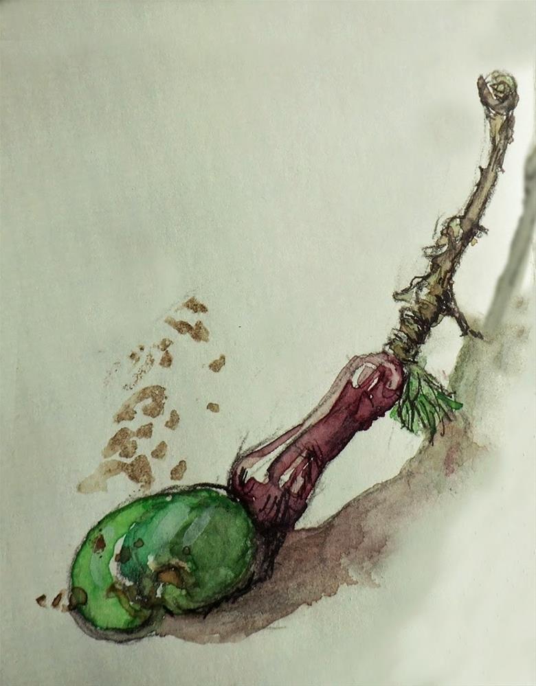 """""""Young Cashew"""" original fine art by Mitsuru Cope"""