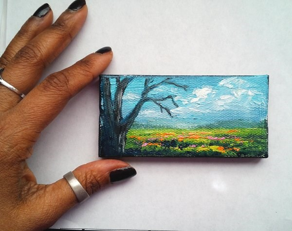 """Tree and wildflowers"" original fine art by Camille Morgan"
