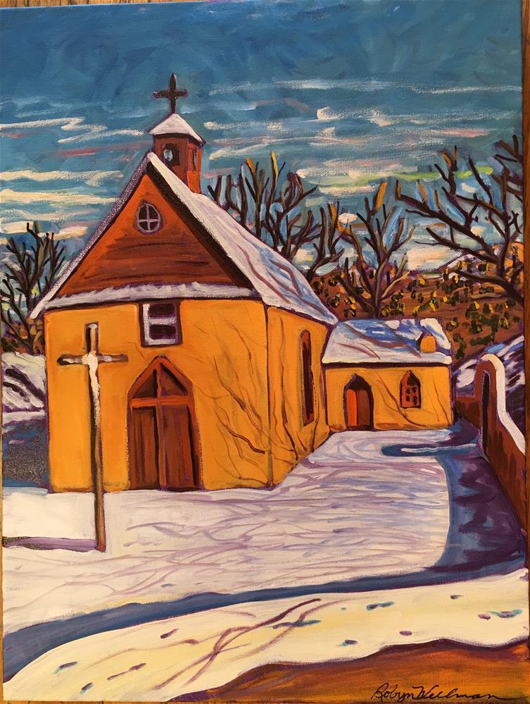 """""""Hondo church in snow"""" original fine art by Robyn Wellman"""