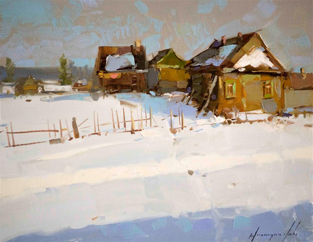 """Village Original oil Painting One of a kind"" original fine art by V Yeremyan"
