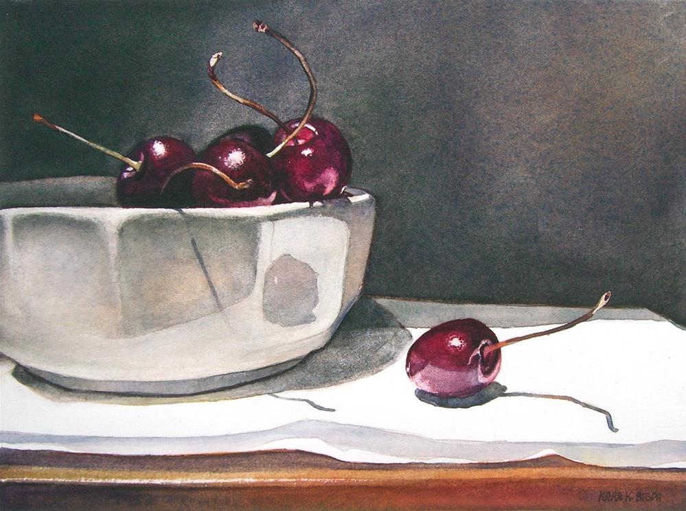 """Still Life with Cherries"" original fine art by Kara K. Bigda"