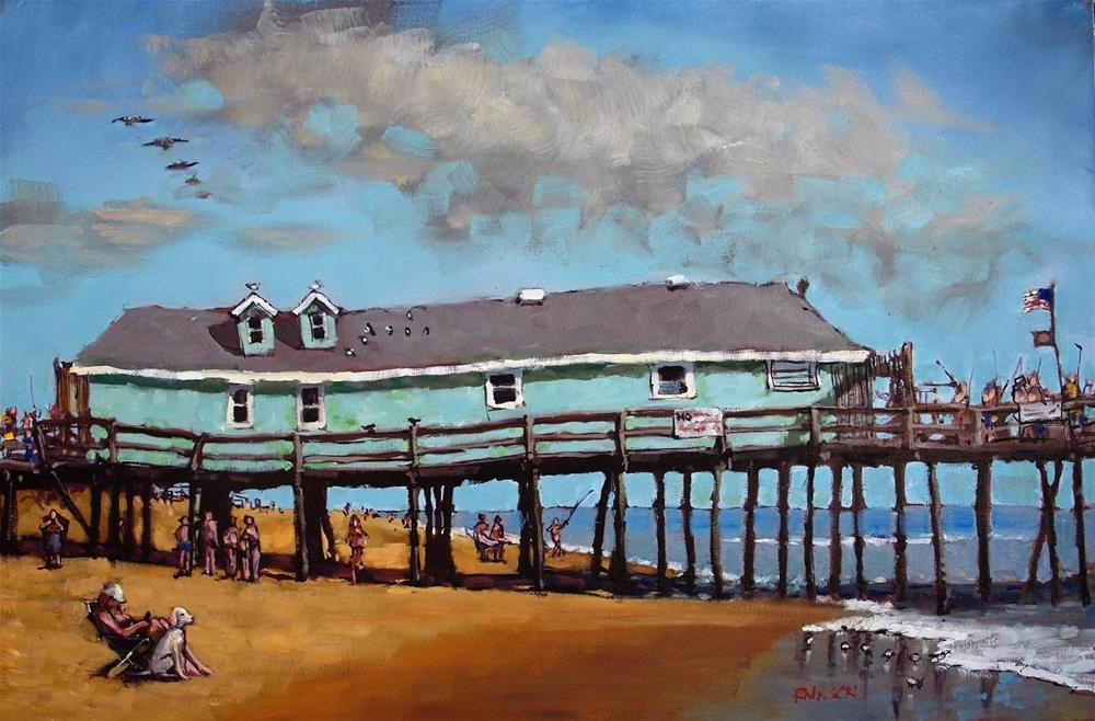 """A Summer Day by Avalon Pier"" original fine art by Rick Nilson"