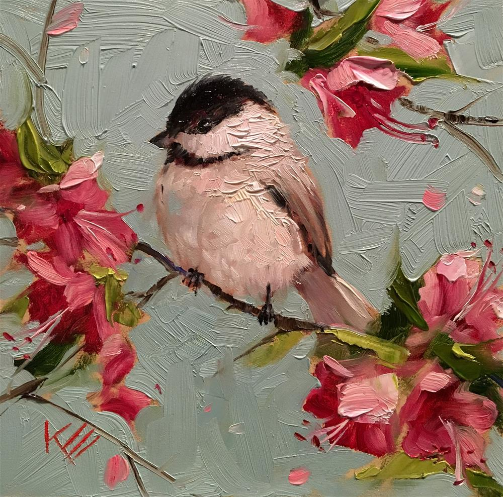 """Chickadee & Blossoms - state bird of Maine"" original fine art by Krista Eaton"
