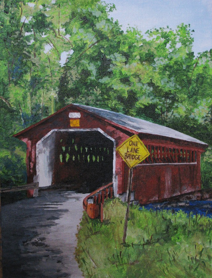 """One Lane Bridge"" original fine art by Nan Johnson"