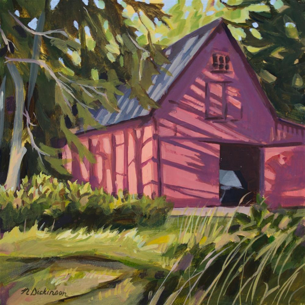 """Red Barn"" original fine art by Nat Dickinson"