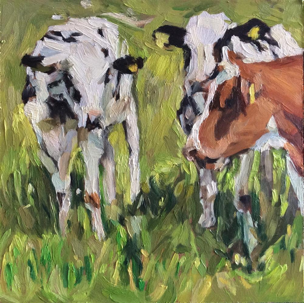 """Cows"" original fine art by Paula Howson-Green"