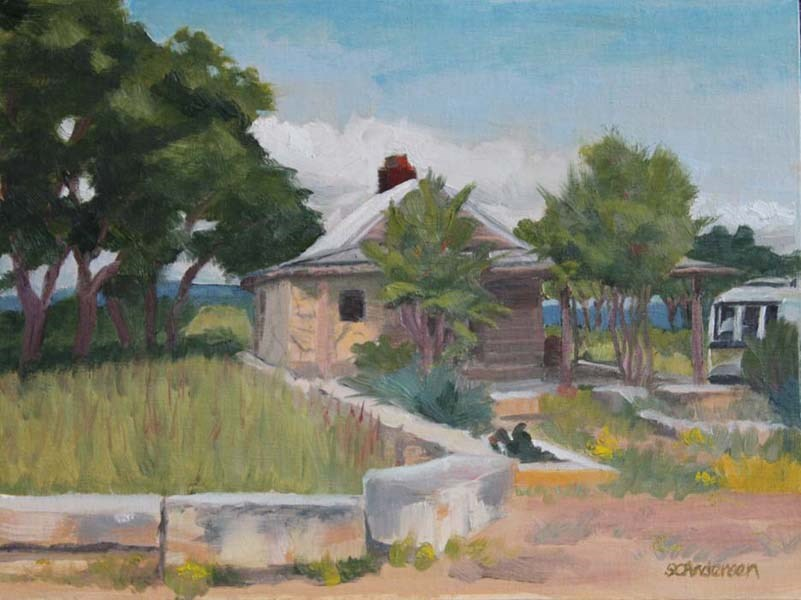 """Hilltop cabin with Airstream"" original fine art by Susan Andersen"