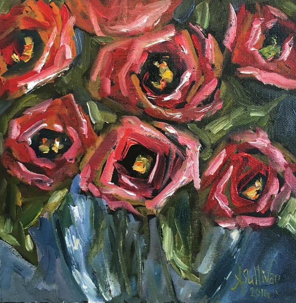 """Roses In Red still life painting by Alabama Artist Angela Sullivan"" original fine art by Angela Sullivan"
