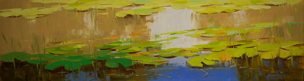 """Waterlilies Garden Oil Painting"" original fine art by V Y"