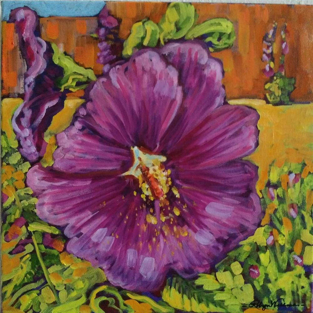 """Plum Hollyhocks at St Assissi"" original fine art by Robyn Wellman"