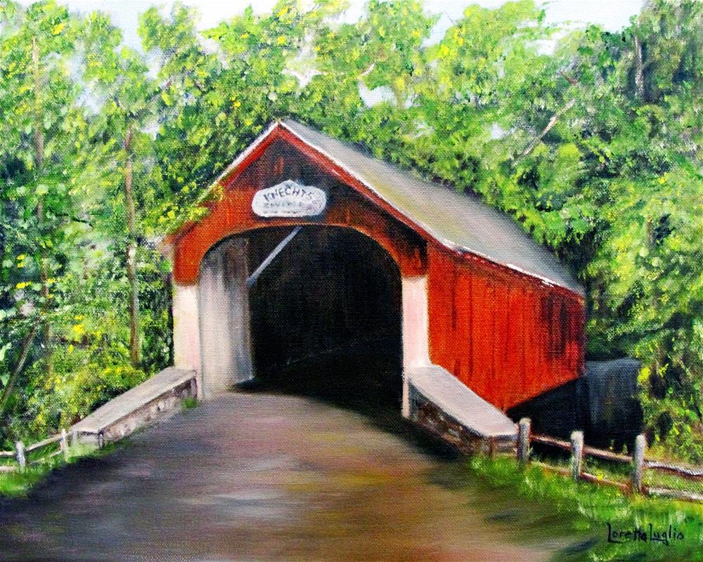 """Knecht's Covered Bridge"" original fine art by Loretta Luglio"