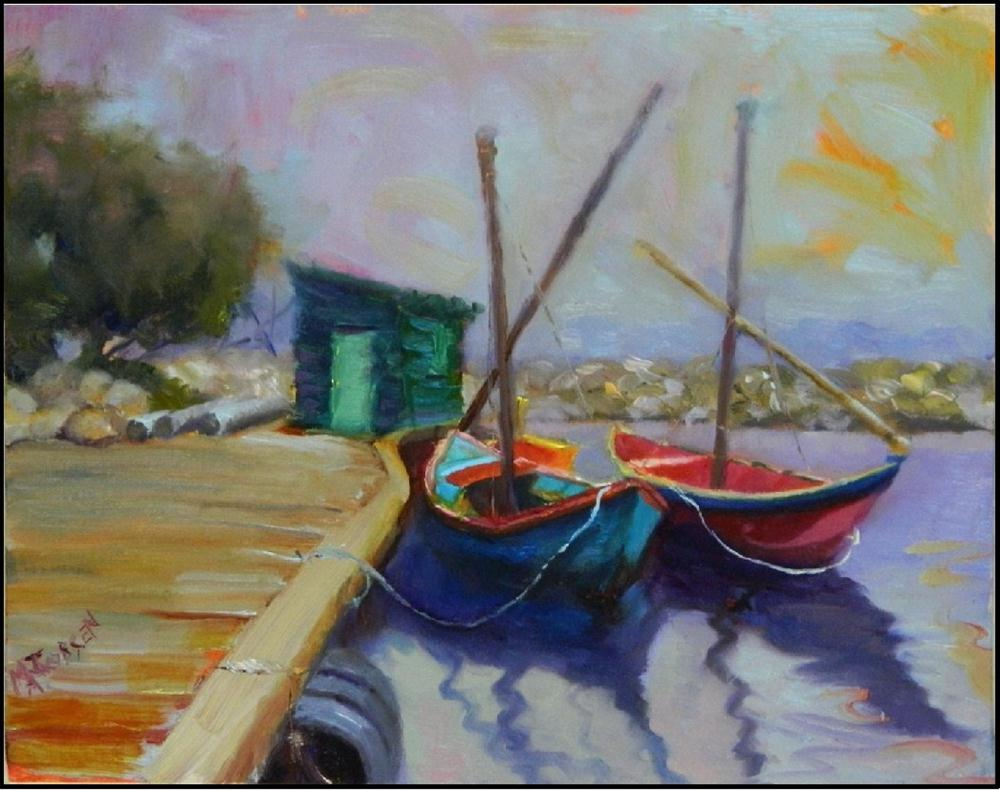 """Purple Haze, 10x8, oil on panel, paintings of baots, sailboats, colorful boats, riviera boats, pur"" original fine art by Maryanne Jacobsen"