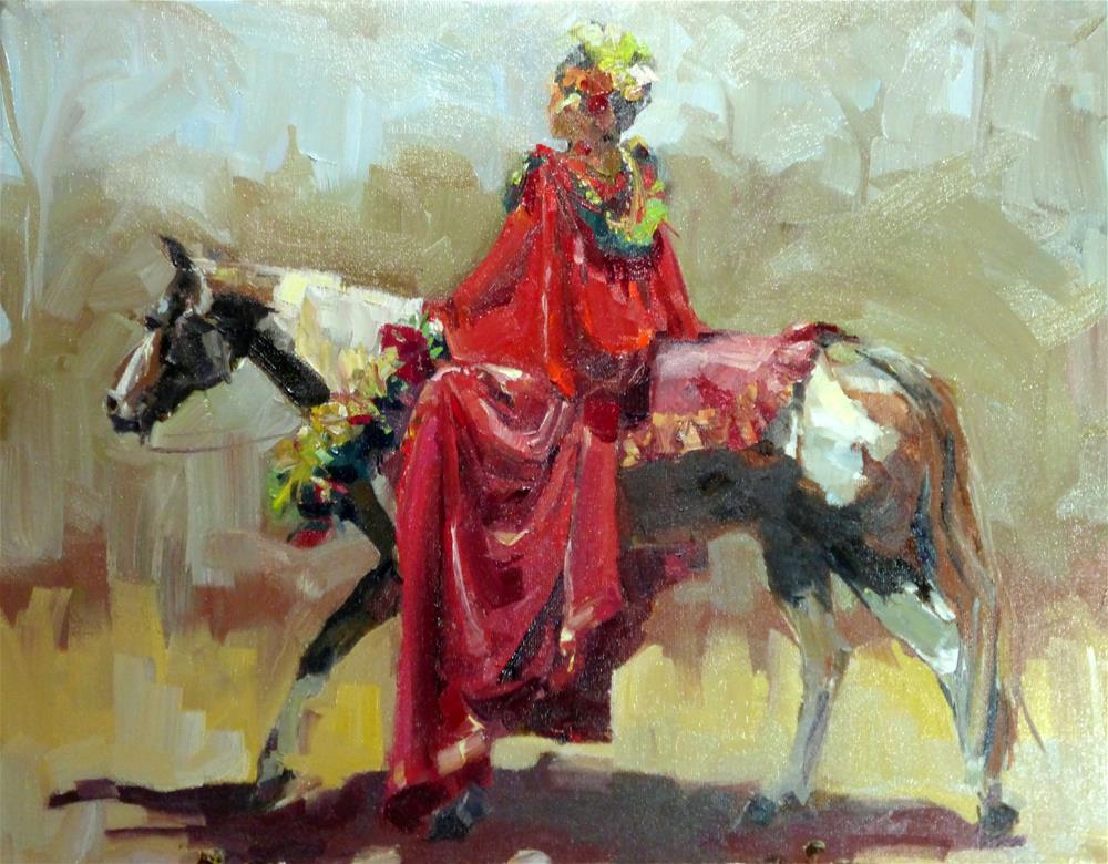 """Pa'u Rider in Red"" original fine art by Jeri Ireland"