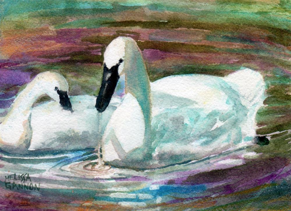 """TWo Swans"" original fine art by Melissa Gannon"