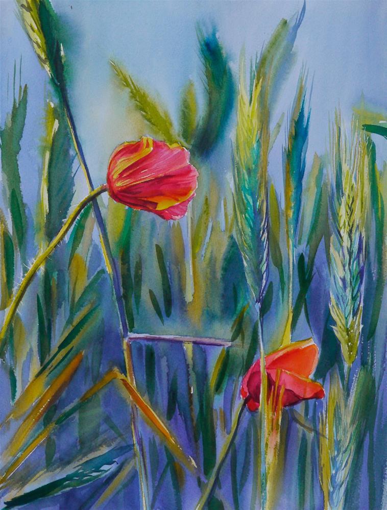 """poppies 2"" original fine art by Beata Musial-Tomaszewska"