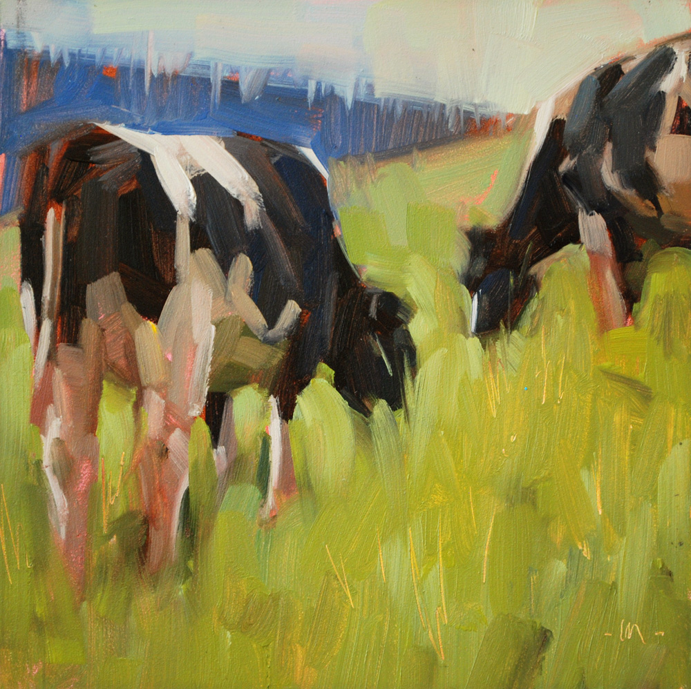 """Cows Grazing"" original fine art by Carol Marine"