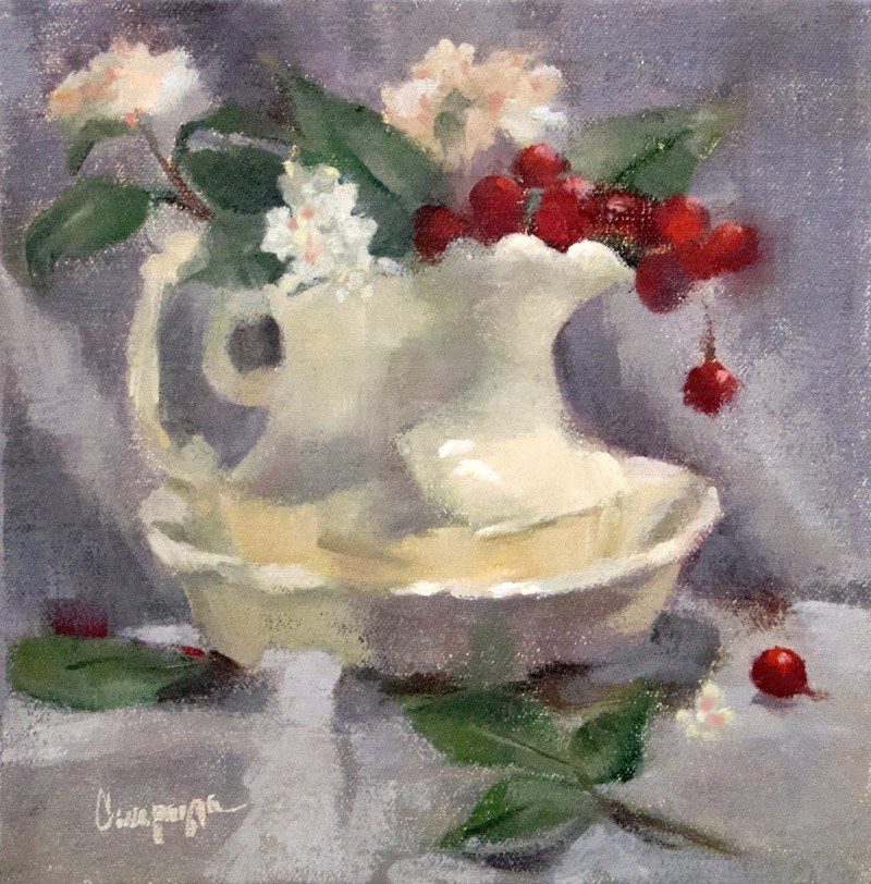 """""""Study in Grays and a Pop of Color"""" original fine art by Roseanne Campagna"""