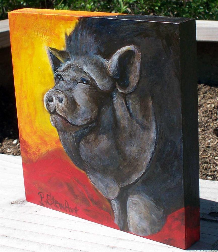 """6x6 Rasputia the Pig, Acrylic on Wood, Realistic Pet Portrait"" original fine art by Penny Lee StewArt"