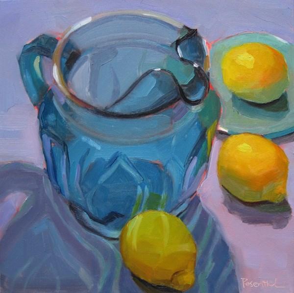 """Blue Pitcher and Lemons"" original fine art by Robin Rosenthal"