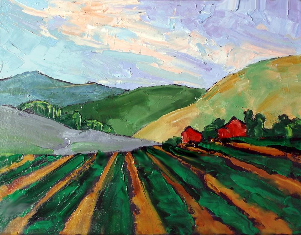 """Salinas Red Barns"" original fine art by lynne french"